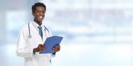 Young Afro-American doctor man. Health care concept. Archivio Fotografico