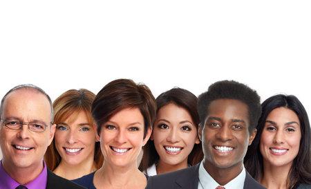 Gelukkige glimlachende groep mensen gezichten. Tandheelkundige zorg.
