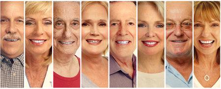 Set di sorridere raccolta facce anziano. Vecchio gruppo di persone.