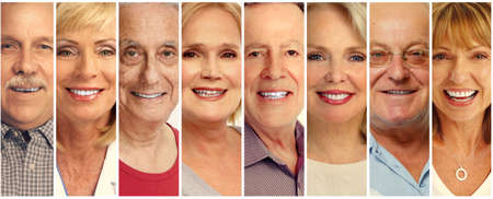 Set of smiling senior faces collection. Old people group.