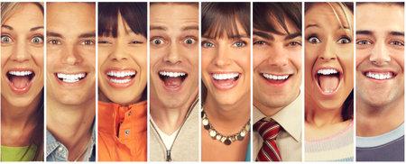 Set van gelukkige lachende gezichten. Mensen collectie. Stockfoto