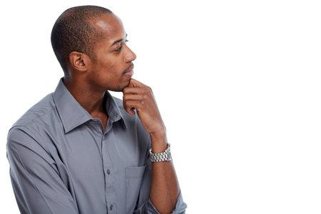 Thinking idea African-american man portrait isolated white background. Standard-Bild