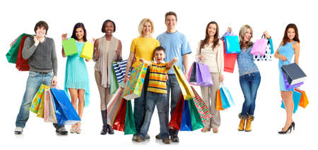 Group of happy customers with shopping bags isolated white background. Archivio Fotografico