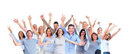 행복한 사람들의 큰 그룹입니다. 흰색 배경에 고립