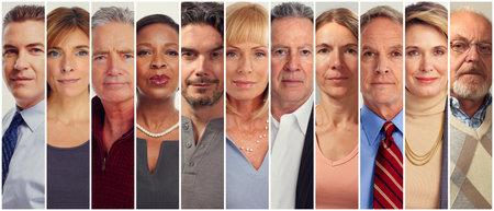 Set van rijpe leeftijd van mensen die serieus volwassene. Stockfoto