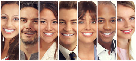 Set of happy laughing people. Smiling faces collection.