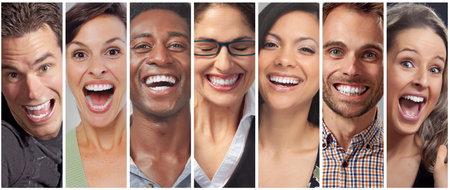 Set van gelukkige lachende mensen. Lachende gezichten collectie. Tanden bleken Stockfoto