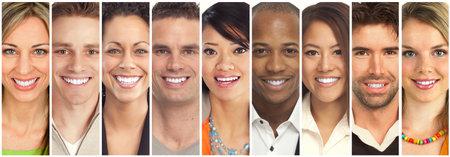 Set van gelukkige lachende gezichten. Mensen collectie. Stockfoto - 65056433