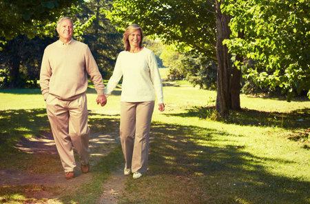 Gelukkig houdend bejaarde echtpaar wandelen in het park.