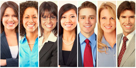 Collection of smiling business people men and women. Stock fotó