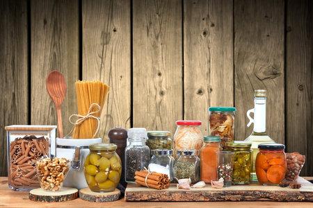 Pickles vegetables in glass jar. Food background