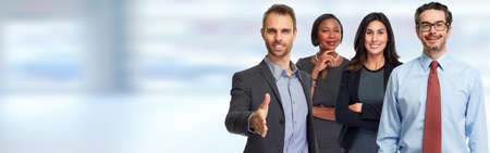 Smiling successful business people team blue banner background.