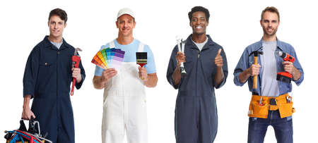 Group of people workers with tools. Car mechanic painter and handyman.