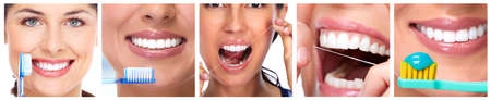 Happy people smile teeth with toothbrush dental set collage. Stock Photo