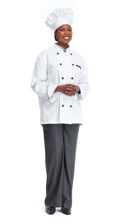 African professional chef baker woman isolated white background.