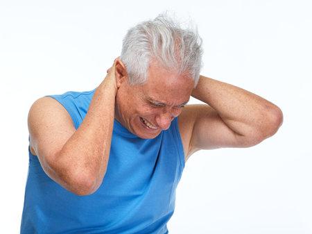 Elderly man having neck pain isolated white background. Depression concept.