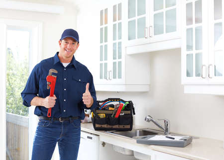 Plombier professionnel faisant la rénovation dans la cuisine maison. Banque d'images - 66303575
