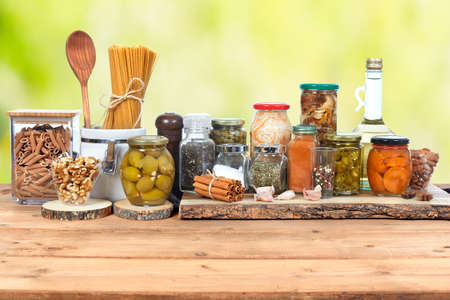 Pickles vegetables in glass jar. Food background