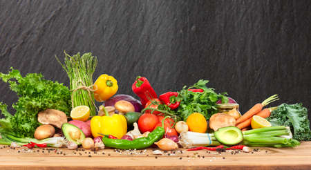 Organic vegetables variety on the table in kitchen Stock Photo - 66787829