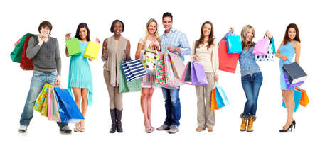 Group of happy customers with shopping bags isolated white background. Stock fotó