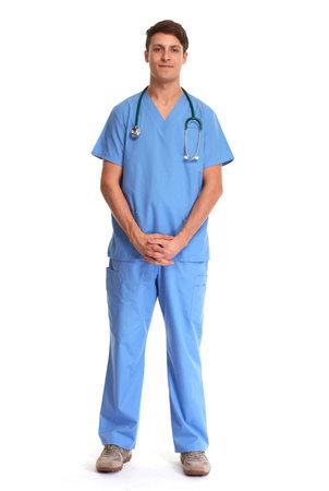 Doctor pharmacist man isolated on white background. Reklamní fotografie