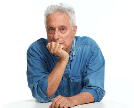 Serious senior man portrait isolated white background. Banco de Imagens