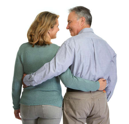 Senior couple looking each other. Stock Photo