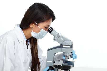 Chinese scientist woman with microscope. Stok Fotoğraf