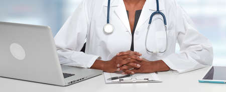 African American Doctor woman hands Stock Photo
