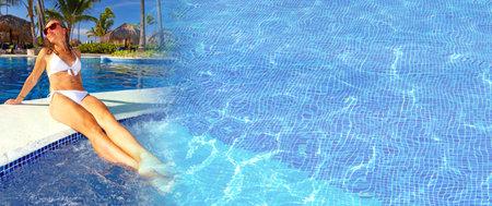Woman near the pool Stock Photo