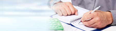 Accountant hands with calculator Stock Photo - 71519883