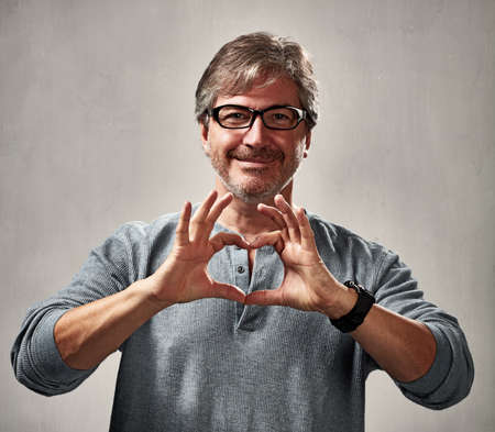 peaceful man with heart Stock Photo