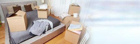 새 아파트에서 이동 상자 스톡 콘텐츠