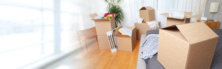 새 아파트에서 이동 상자 스톡 콘텐츠 - 73882402