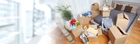 새 아파트에서 이동 상자 스톡 콘텐츠 - 73882403