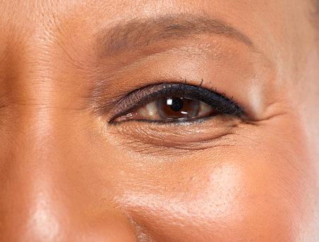 Senior afro american woman eye macro close-up portrait Stock Photo