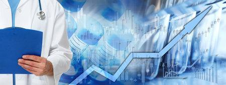 Health care stock market background