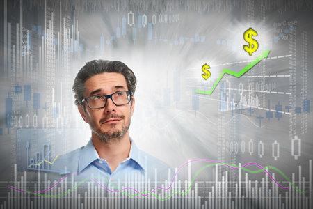 Thinking investor man.