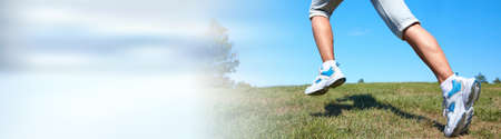 Jogging woman legs
