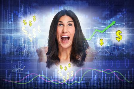 Happy investor woman.