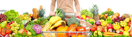 Shopping cart with fruits Stock Photo