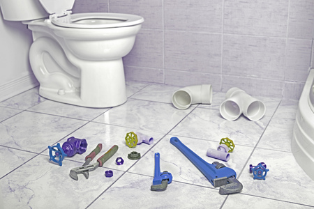 Plumbing tools in the bathroom . Foto de archivo
