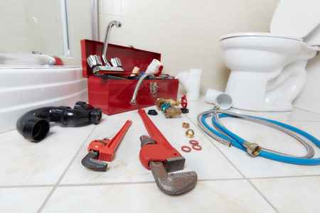 Plumbing constraction tools. Banque d'images