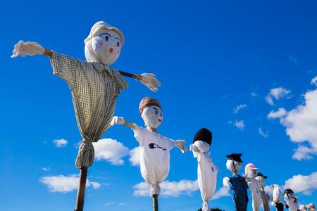 scarecrow: scarecrow and sky blue Stock Photo