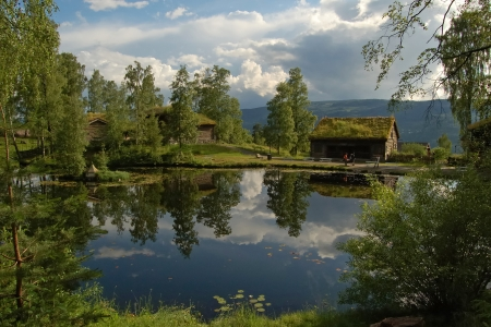 openair: Country landscape, Maihaugen open-air museum, Lillehammer, Norway  Stock Photo