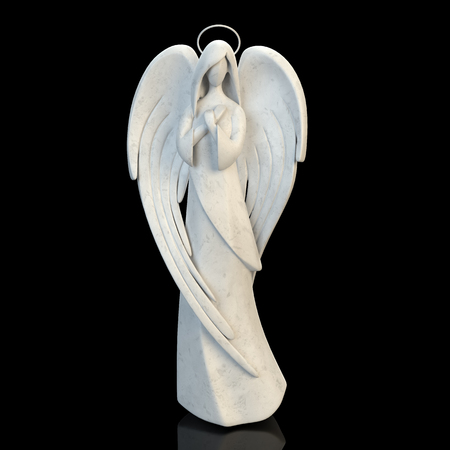 The abstract figure of an angel girl, black background.