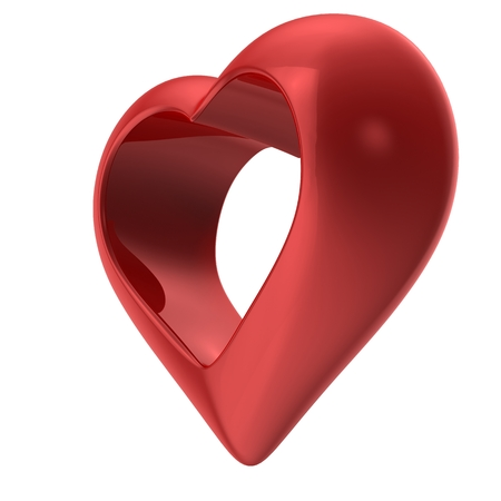 shiny heart: A red shiny heart isolated on white background Stock Photo