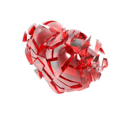 fractured: Broken into small pieces of red glass heart. Stock Photo