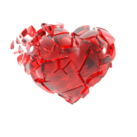 broken unity: Broken into small pieces of red glass heart. Stock Photo