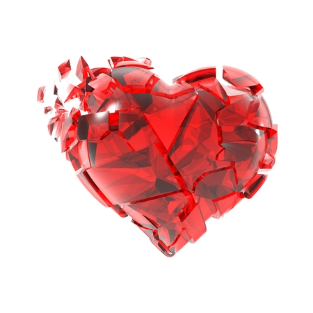 heartbreaking: Broken into small pieces of red glass heart. Stock Photo